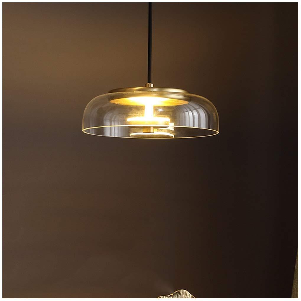 シャンデリア銅ペンダントライトアメリカンガラス器具リビングルームの寝室の天井灯レストランダイニング吊りランプ18センチ   B07T8HLJQF