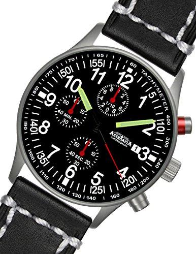 Astroavia N97L3 Chronograph mit Lederarmband schwarz mit wesser Naht Herren-Armbanduhr 40 mm