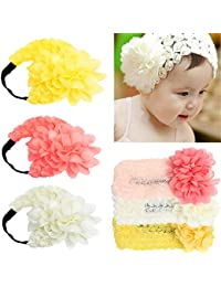 Baby Headbands Soft Crochet Flower Wide Lace Elastic Infant HairBand (3Pack)