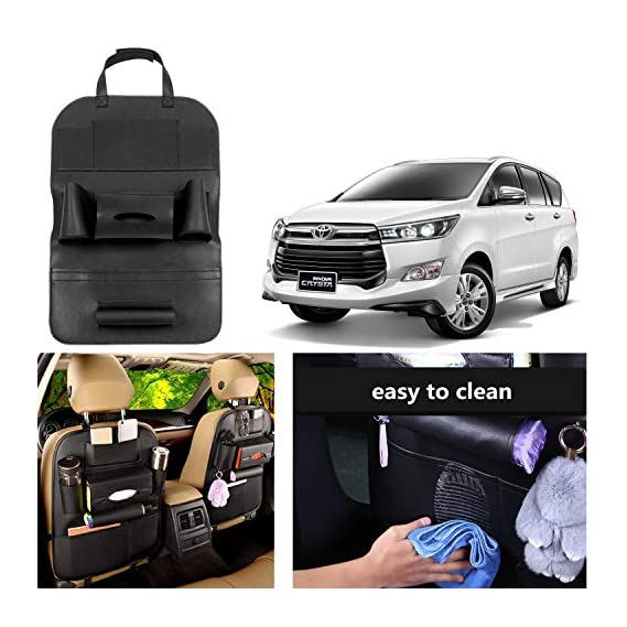 OSHOTTO Car Backseat Storage Organizer Phone Holder,Multi-Pocket for Bottles, Tissue Boxes,Kids Toy Storage and Great Travel Accessory Kick Mat Seat Protector for Toyota Innova Crysta (Black)