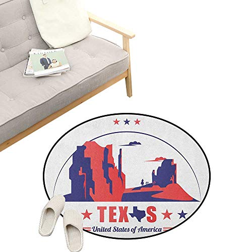 Texas Star Round Rug ,Texas State Map with Cowboy Silhouette Among Canyons Desert Design, Flannel Microfiber Non-Slip Soft Absorbent 39