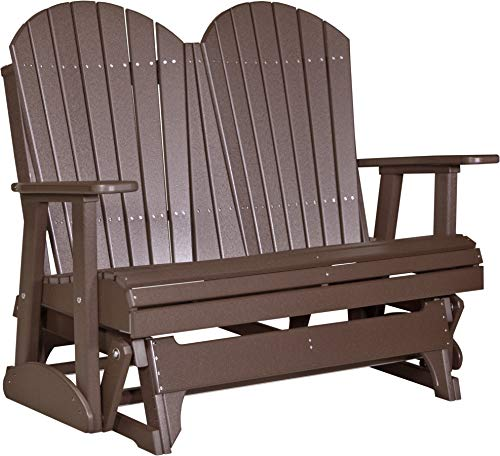 - LuxCraft Poly Recycled Plastic 4' Adirondack Glider Chair, 2 Person Glider Bench - Chestnut Brown