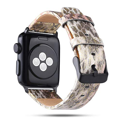 (MeShow Compatible with Apple Watch Band Series 4/3/2/1,44mm 42mm Natural Genuine Python Snake Watch Band Strap with Metal Adapter Replacement for Apple Watch Series 4/3/2/1 (C))