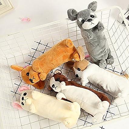 Outflower Niedlichen Pl/üsch Hunde Serie Bleistift Tasche Studenten Federm/äppchen Hund Form Spielzeug Make-Up Tasche Kosmetiktasche Gro/ße Schreibwaren Aufbewahrungstasche