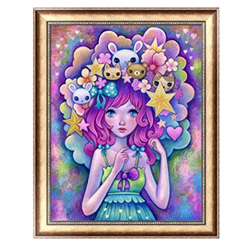 New Arrival!Deesee(TM)DIY 5D Diamond EmbroideryCreative Rhinestone Full Drill Beautiful Girls DIY Livingroom Cross Stitch Home Decor (D)