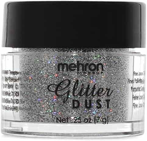 Mehron Makeup Glitter Dust Face & Body Paint, HOLOGRAPHIC SILVER- .25oz