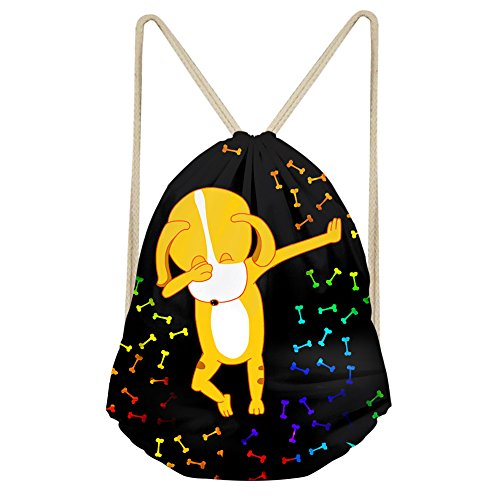 INSTANTARTS Funny Cartoon Dog Bone Kids Girls Boys Pull String Bag Gym Sport ()