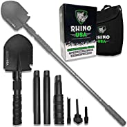 Rhino USA Survival Shovel w/Pick - Heavy Duty Carbon Steel Military Style Entrenching Tool for Off Road, Campi