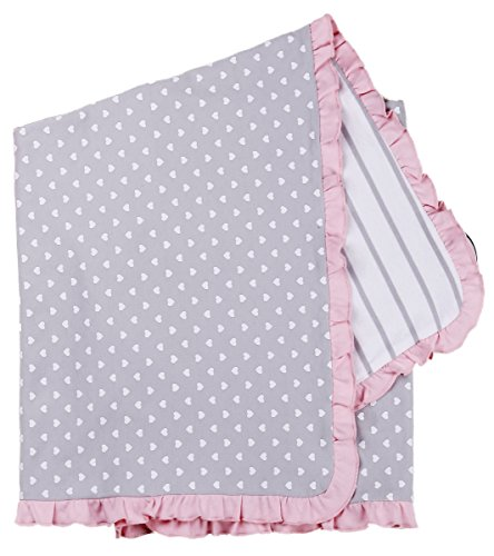 Asher and Olivia Baby Girls' Receiving Blankets Reversible Polka Heart Print. Size 30 x 40 Inch