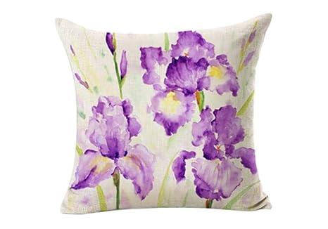 Almohada Decorativa Estampado de Flores Sof Funda de ...