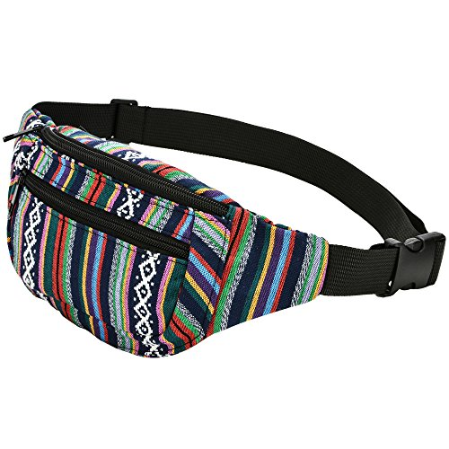 Kayhoma Boho Fanny Pack Stripe Festival Rave Bum Bags Travel Hiking Waist Belt Purse by Kayhoma (Image #1)