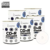 Smart Buy CD-R 500 Pack 700mb 52x Printable White Inkjet Blank Recordable Discs, 500 Disc, 500pk