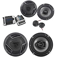 Pair Rockville RV65.2C 6.5 Component Car Speakers+6.5 Coaxial 3-Way Speakers