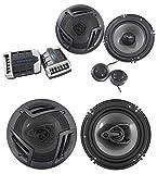 Pair Rockville RV65.2C 6.5' Component Car Speakers+6.5' Coaxial 3-Way Speakers