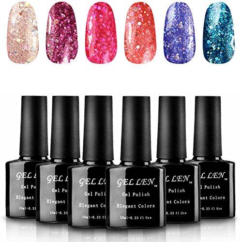 Gellen Shiny UV Gel Polish, Vibrant Glitters Nail Gels, 10ml