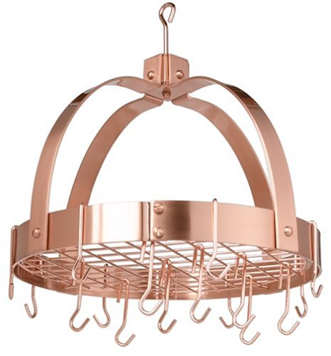 Old Dutch Dome Pot Rack with 16 Hooks, Copper, 20'' x 15.25'' x 21''