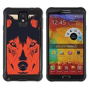 WAWU Funda Carcasa Bumper con Absorci??e Impactos y Anti-Ara??s Espalda Slim Rugged Armor -- wolf dog evil devil hund shepard red poster -- Samsung Note 3
