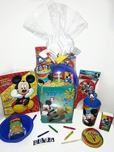Disney Mickey Mouse Gift Basket, Get Well Soon, Care Package, Kids Action Pack, Mickey Mouse Toy, Coloring Book, Bag, Tissues, Stickers, Cup + Candy, Crayons, Soup Bowl & Campbell's Soup 10pc Bundle (Easter Care Package)