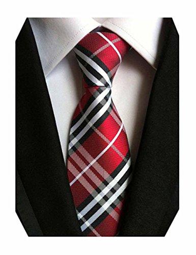 MINDENG New Classic Striped White Black Streak 100% Silk Men'S Tie Necktie (Black Red White)