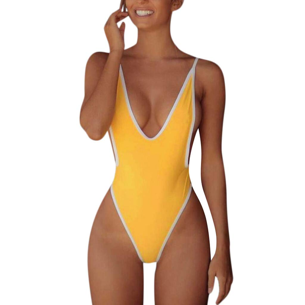 DORIC 2019 Women's One Piece Bikini Swimwear Switmsuit Bathing Suits Solid Color Backless Yellow
