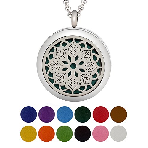 COOHAA Essential Oil Necklace Diffuser Lotus Pendant Locket Aromatherapy Diffuser Jewelry, Perfume Necklace with 2 pcs Chains & 12 Pads(Paper-cut)