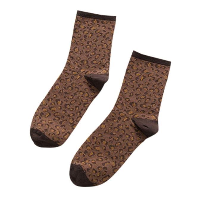 BHYDRY Mujer Damas Invierno Cálido Leopardo Imprimir Calcetines Casual Algodón Retro Calcetines Stocke: Amazon.es: Ropa y accesorios