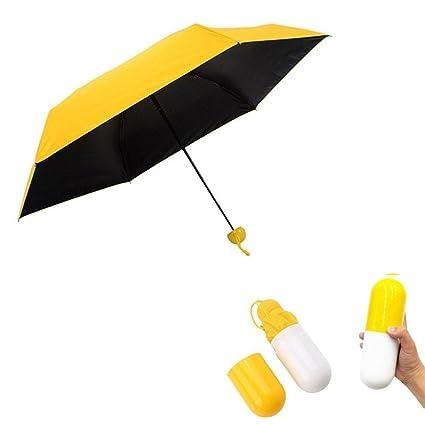 AOLVO Mini compacto sol y lluvia paraguas plegable anti-UV paraguas mini con Creative Cute