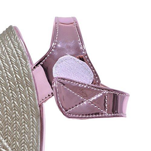 Odomolor Mujeres Puntera Abierta Velcro Sólido Plataforma Sandalia Morado