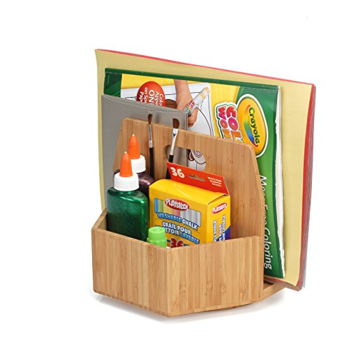 Bamboo Arts & Crafts Organizer Rotating Caddy Hold Art Supplies Crayons Colored Pencils Scissors Paint Brushes; Perfect for Classrooms and Art Rooms by MobileVision