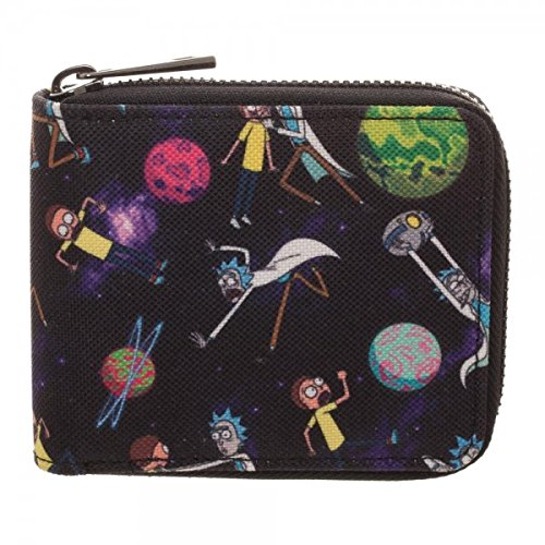 Adult Swim Rick and Morty Bi-Fold Zip Around Wallet Bioworld