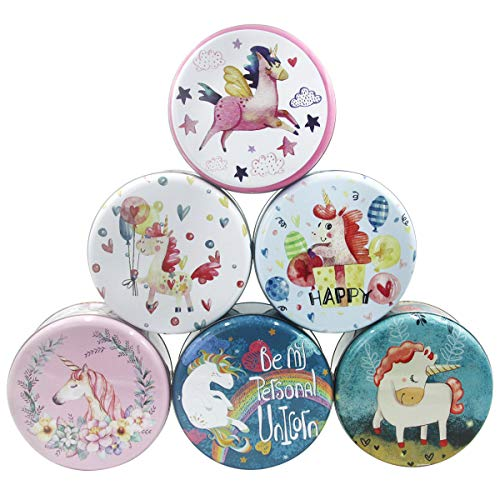 NICROLANDEE 6pcs Large Unicorn Cookie Containers with Lids Kids Toy Organizers Vintage Storage Box Round Shape Tins Coffee Tea Leafs Cans Holder Jewelry Gift Box 6.6 ()