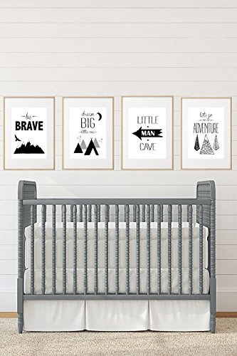 - Silly Goose Gifts Black White Grey Adventure Themed Children Wall Decor (Set of Four) Brave Little Man Cave