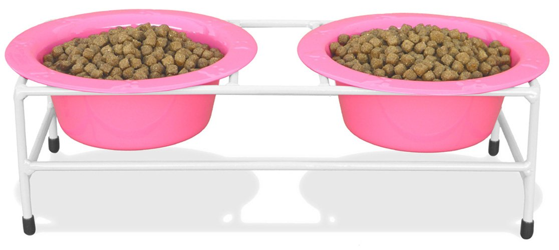 Platinum Pets Double Diner Feeder with Stainless Steel Dog Bowls, 10 oz, Pink