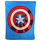 Northwest Kid's Colorful Character Micro Raschel Throw Blanket 46'' x 60'' (Captain America Shield)