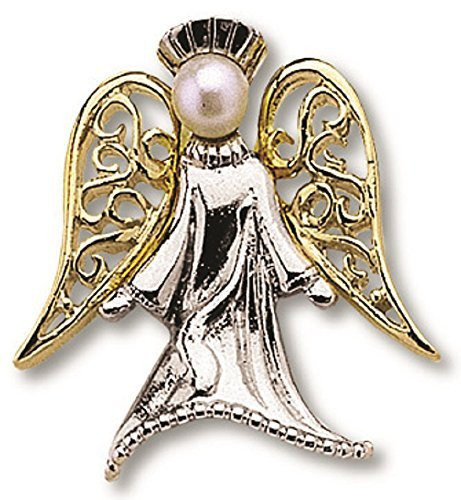 Guardian Angel Silver With Gold Wings Lapel Pin On Header Card