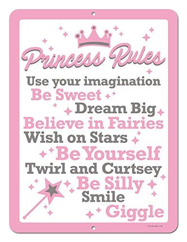 Honey Dew Gifts Princess Decor, Princess Rules, 9 x 12 inch Metal Aluminum Novelty Tin Sign Decor