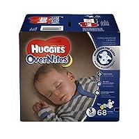 HUGGIES Pañales OverNites, tamaño 3, 68 ct., Pañales grandes durante la noche (el paquete puede variar)