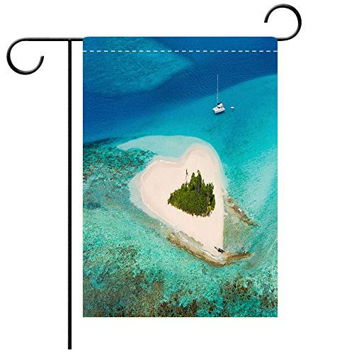 BEICICI Custom Personalized Garden Flag Outdoor Flag Heart Shaped Island in The Caribbean Perfect Honeymoon Destination Decorative Deck, Patio, Porch, Balcony Backyard, Garden or Lawn