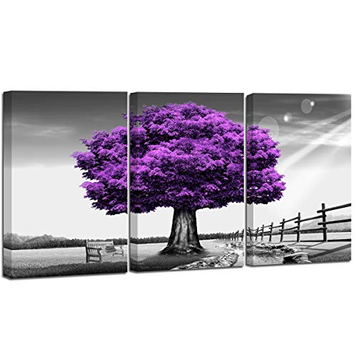 Canvas Prints Purple Tree Framed Wall Art for Home Decor Perfect 3 Panels Purple scenery Decorations For Living Room Bedroom Office Each Panel 16