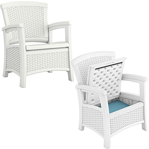 Suncast Elements Resin Wicker Design Club Chair with Storage, White (2 Pack) (White Club Wicker Chairs)