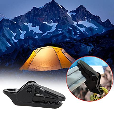 Camping Awning Clips - 10 Pieces Set Tents Awning Alligator Clip Outdoor Camping Wind Rope Clamp Awnings Plastic Clip Tents Awning Accessories - Camping Tarp - Vertical Stander