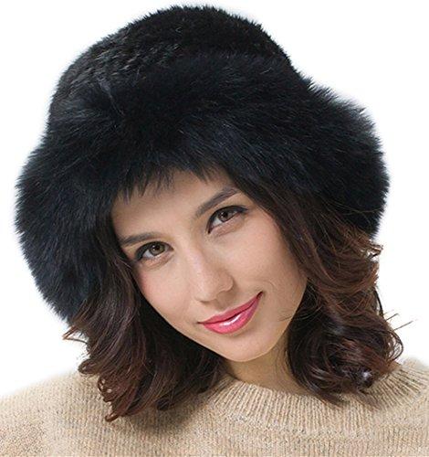 Fox Fur Trim Hat (Women's Fur Winter Brim Hat Genuine Mink Fur Hats with Fox Fur Brim FURTALK Original (Black))
