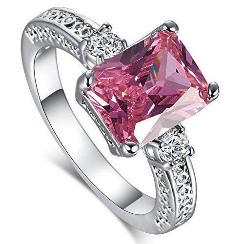Pink Princess Cocktail Ring - Psiroy 925 Sterling Silver Emerald Cut Created Pink Topaz Filled Anniversary Ring