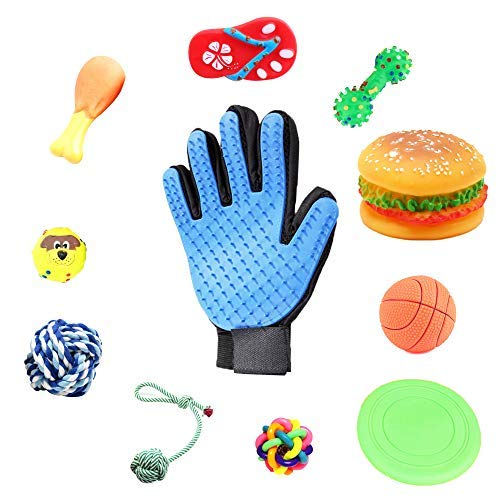 FUN SMALL TOYS FOR LITTLE DOGS - GROOMING GLOVE FOR PETS, CATS, DOGS, RABBITS, HORSES - 10 TRAINING TOYS FOR PUPPIES - TEETHING ROPE BALL - BEST SQUEAKY NON-TOXIC - SAFE CHEW BONE - SOFT FRISBEE TOY ()