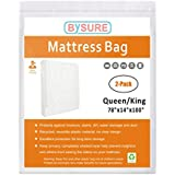 BYSURE 2-Pack Mattress Bag for Moving and Storage - Not Clear Plastic - Protecting Your Mattress and Your Privacy, Fits Queen/King Size