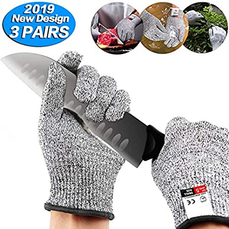 Dekugaa Cut Resistant Gloves For Meat Cuttin Processing Mandolin Slicing,Wood Carving,Pruning nd More, Small-3 pairs Upgrade Cut Resistant,Food Grade Level 5 Protectio,Cut Resistant Work Gloves