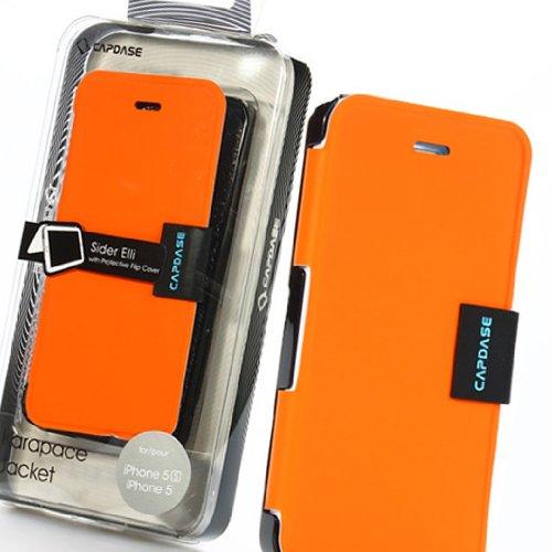 Orange+Black Capdase Sider Elli Karapace Jacket Flip Protective Case Cover for iPhone 5 5S
