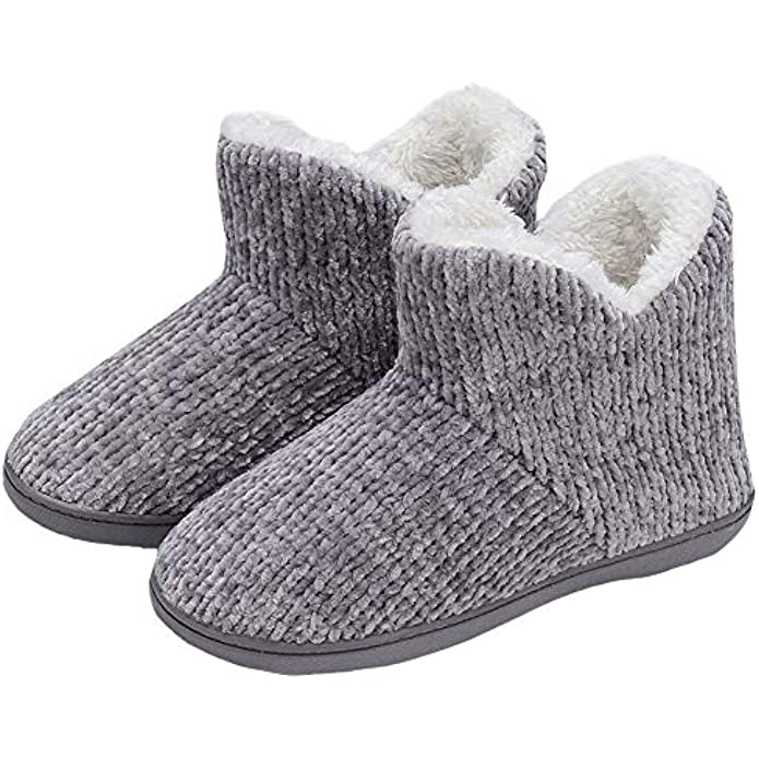 TUOBUQU Womens Warm Bootie Slippers Fluffy Plush Indoor Outdoor Winter Comfy House Slippers