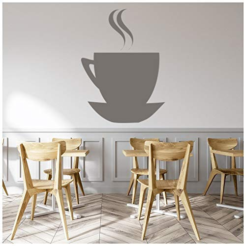 Celeste decal banytree Coffee Cup and Saucer Silhouette Food and Drink Wall Stickers Kitchen Art Decals ()
