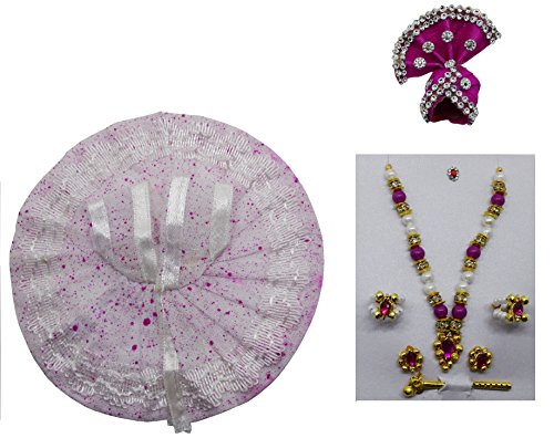 Handmade White Colour Pink Doted Colour Bal Krishna Dress and Ornaments for 1 To 2